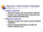 capacity information needed