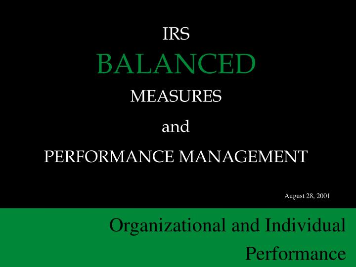 irs balanced measures and performance management n.