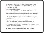 implications of independence