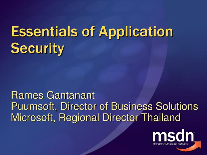 essentials of application security n.