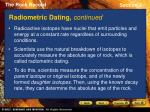 radiometric dating continued