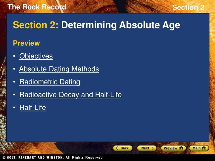 section 2 determining absolute age n.