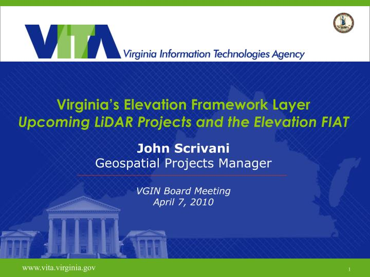 virginia s elevation framework layer upcoming lidar projects and the elevation fiat n.