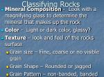 classifying rocks