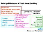 principal elements of cord blood banking