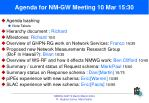 agenda for nm gw meeting 10 mar 15 30