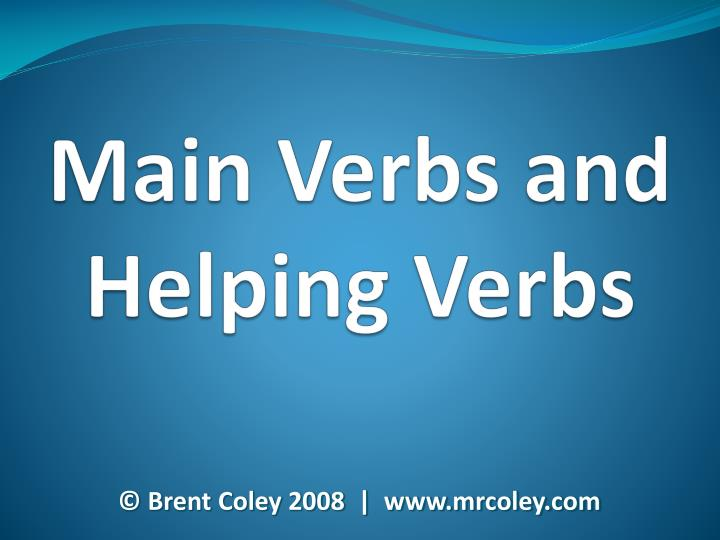 main verbs and helping verbs n.