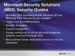 microsoft security solutions mss security guides