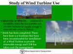 study of wind turbine use