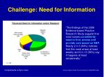 challenge need for information