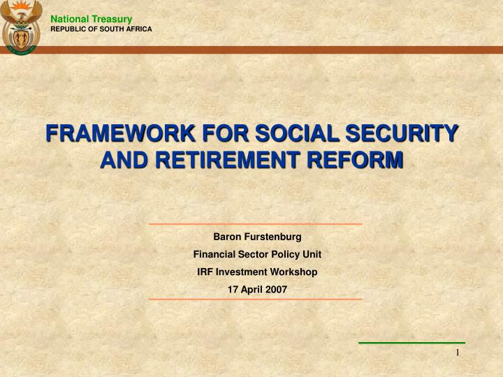 framework for social security and retirement reform n.