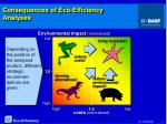 consequences of eco efficiency analyses