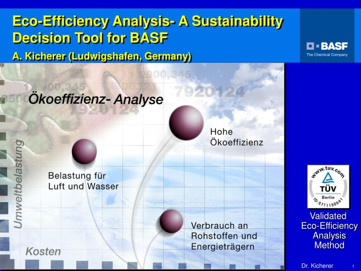 eco efficiency analysis a sustainability decision tool for basf a kicherer ludwigshafen germany n.