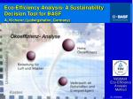 eco efficiency analysis a sustainability decision tool for basf a kicherer ludwigshafen germany