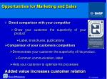 opportunities for marketing and sales