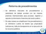 reforma de procedimientos