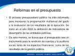 reformas en el presupuesto