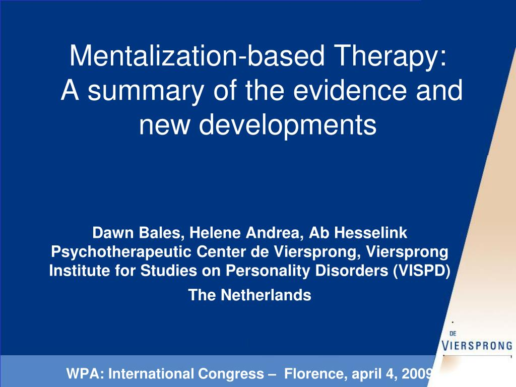 mentalization based therapy a summary of the evidence and new developments l.