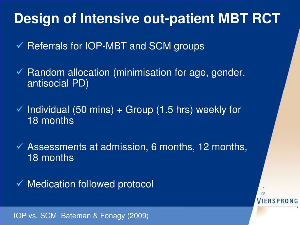 Design of Intensive out-patient MBT RCT