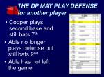 the dp may play defense for another player