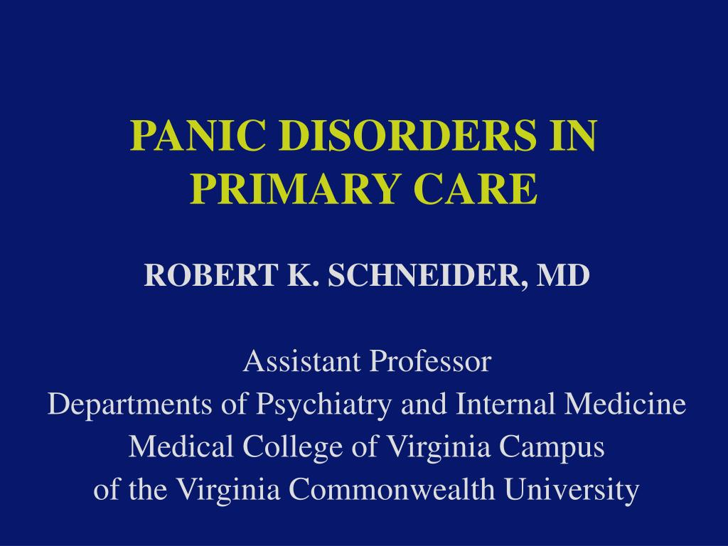 panic disorders in primary care l.