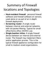 summery of firewall locations and topologies