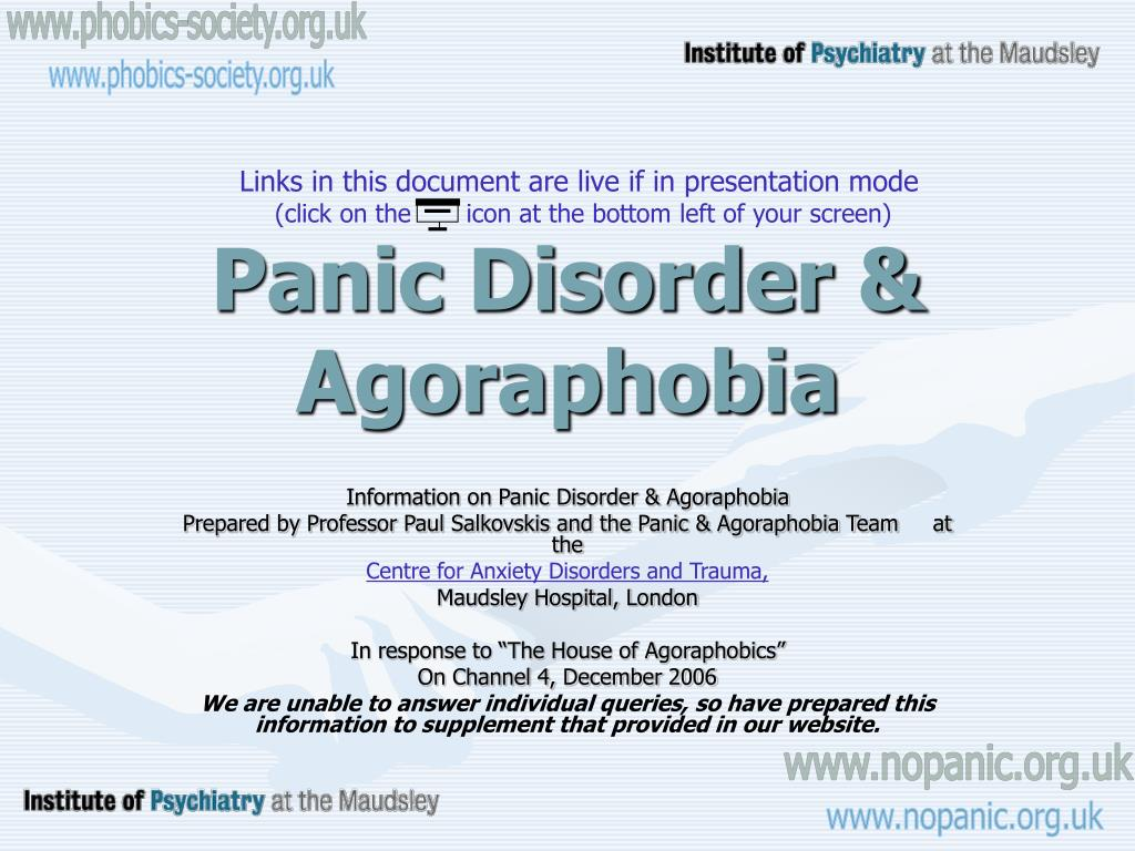 panic disorder agoraphobia l.