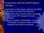 experience with the audit program review