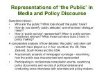 representations of the public in media and policy discourse
