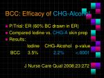 bcc efficacy of chg alcohol