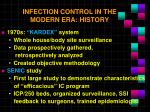 infection control in the modern era history