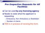 pre inspection requests for all facilities