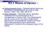 r3 1 means of egress