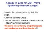 already in bees for life world apitherapy network s page