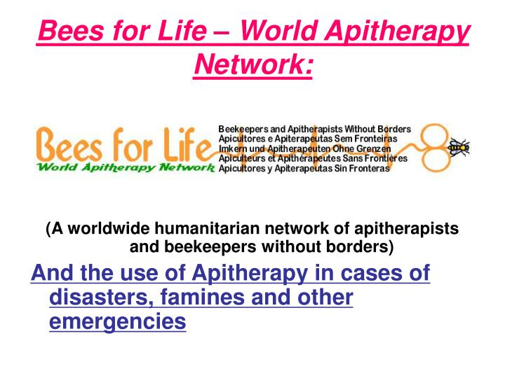 bees for life world apitherapy network n.