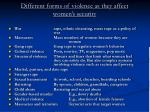 different forms of violence as they affect women s security