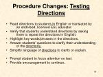 procedure changes testing directions