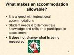 what makes an accommodation allowable