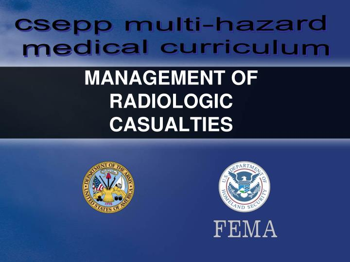 management of radiologic casualties n.