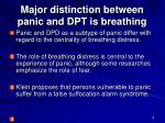major distinction between panic and dpt is breathing