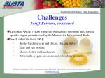 challenges tariff barriers continued