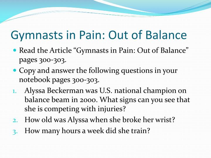 gymnasts in pain out of balance n.