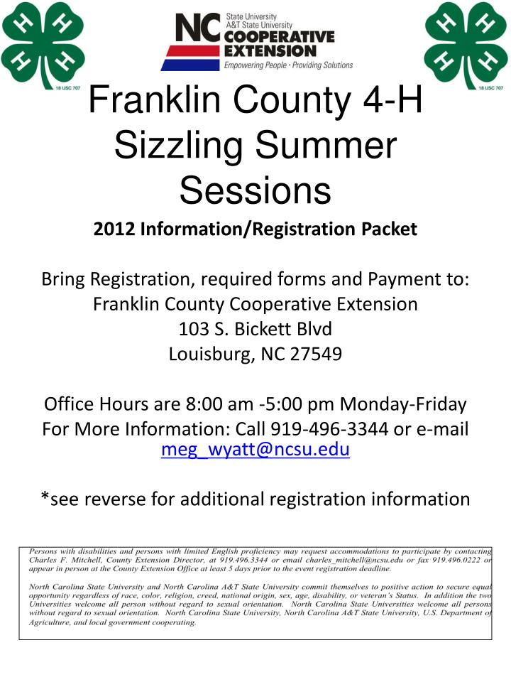 franklin county 4 h sizzling summer sessions n.