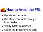 how to avoid the pbl