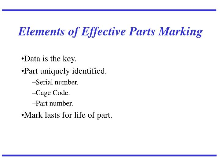 Elements of Effective Parts Marking