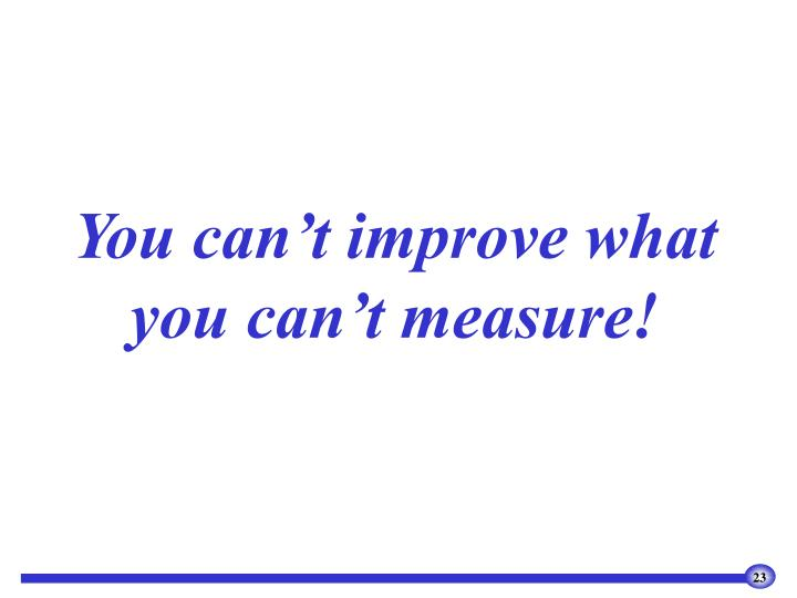 You can't improve what you can't measure!