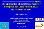 the application of genetic markers for european bat lyssavirus eblv surveillance in bats