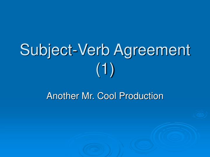 subject verb agreement 1 n.