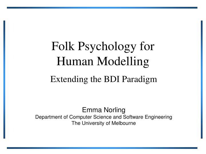 folk psychology for human modelling n.