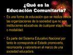 qu es la educaci n comunitaria